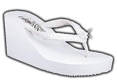 0e6164901 Elegance by Carbonneau BREEZE Women s High Heel Flip Flop White Foam Rubber  Sandal - 5 M