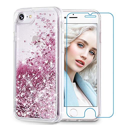 Maxdara Case for iPhone 6S/6 Glitter Case [Tempered Glass Screen Protector] Liquid Floating Bling Sparkle Luxury Shockproof Bumper Pretty Girls Children Case for iPhone 6/6s/7/8 4.7 inches (Rosegold)