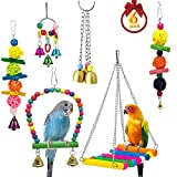 Mrli Pet 6 Pack Bird Swing Toys-Parrot Hammock Bell Toys for Budgie,Parakeets, Cockatiels, Conures and Love Birds
