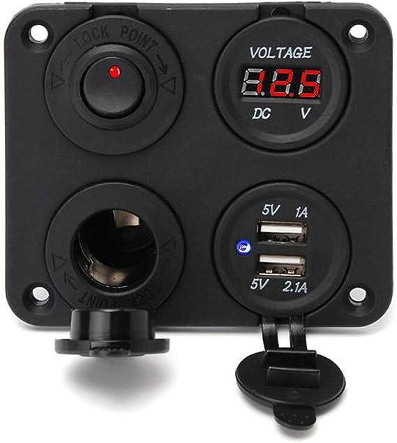 Switch 4 Hole Panel Marine Car Truck Voltmeter 12V Socket Dual USB Charger