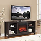 """Walker Edison TV Stand with Fireplace Insert, Espresso, 58"""""""
