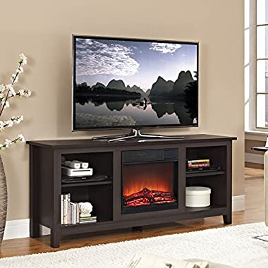 Walker Edison TV Stand with Fireplace Insert, Espresso, 58