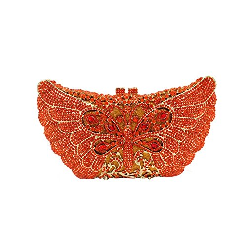 Bag Banquet Clutches Red Evening Purse Women Handbag Dragonfly Crystal Evening pnc5BxqO