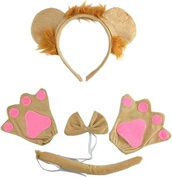 NUOBESTY Animal Partido Headband Chapéus Orelhas de Leão E Cauda Conjunto Criança Crianças Leão Traje Orelhas Headband Halloween Crianças Roupa