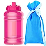Drinking More Water 2.2 Litre(74OZ) Sport Water Bottle -Water Jug-Wave bottles-Drinking Bottle-3.2 Inch Wide Mouth with BPA Free (Pink)