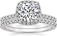 EAMTI 1.25CT 925 Sterling Silver Bridal Rings Sets Cubic Zirconia Halo CZ Engagements Rings Wedding Bands for
