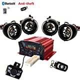 4 Channels UTV ATV Anti-Theft Bluetooth Amplifier Sound System Hand-Free Speakers FM USB