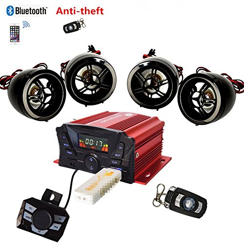 (4 Channels UTV ATV Anti-Theft Bluetooth Amplifier Sound System Hand-Free Speakers FM USB Audio System Stereo Remote Control Anti-Theft Police Guard-Alarm 4X 3 Inch Speakers)
