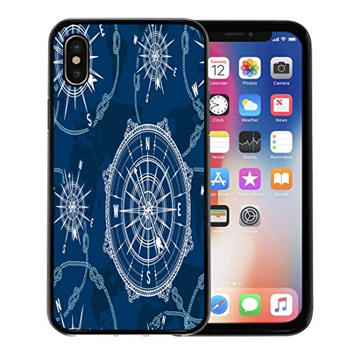 Semtomn Phone Case for Apple iPhone Xs case,Blue Pattern Vintage Compass World Map Wind Rose and Rope Knot Nautical Retro Marine for iPhone X Case,Rubber Border Protective -