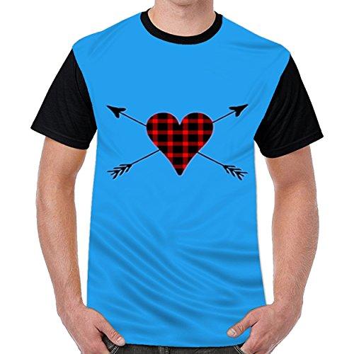 Offfish Buffalo Plaid Heart Tshirt Printed Custom T-Shirts Tops Logo Original Men's Tee Royal (1964 Buffalo)