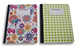 Indian Elephants/Green Hearts Patterned Wide Ruled 100 Sheets Composition Notebooks - (Pack of 2)