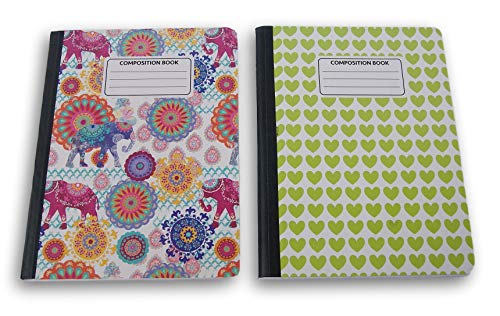 Indian Elephants/Green Hearts Patterned Wide Ruled 100 Sheets Composition Notebooks - (Pack of 2) by JOT
