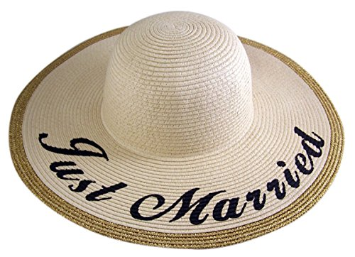 Printed Floppy Hat (Womens Straw Floppy Hat With Just Married Printed Brim, One Size)