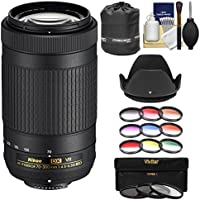 Nikon 70-300mm f/4.5-6.3G VR DX AF-P ED Zoom-Nikkor Lens with 3 UV/CPL/ND8 & 9 Color Filters + Pouch + Hood + Kit for DSLR Cameras