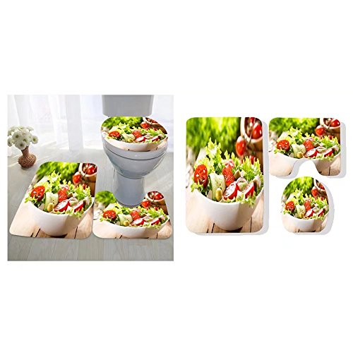 (Iancaopin three-piece toilet seat pad custom bowl of salad with vegetables and greens on wooden)