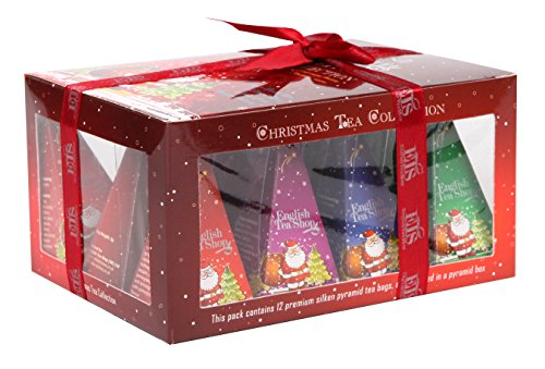 English Tea Shop Gift Box Red with Santa Design Nylon Pyramid, 24 Gram (Gift Hampers Usa)