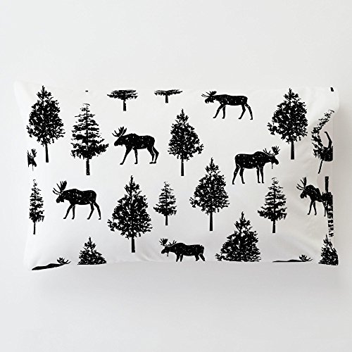 Moose Black Onyx - Carousel Designs Onyx Moose Toddler Bed Pillow Case with Pillow