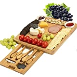 CTFT Cheese Board and Knife Set Bamboo Charcuterie Platter Serving Tray Wooden Cheese Cutting Board Set Gifts for Housewarmin