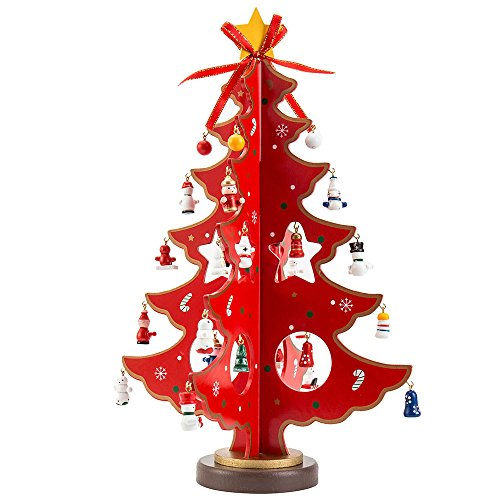LITTLEGRASS 14in Wooden Tabletop Christmas Tree with Ornaments Mini Small xmas Tree- with Decorative Accessories Classical German Christmas Decorations Indoors for Home - Decorations Christmas German Tree