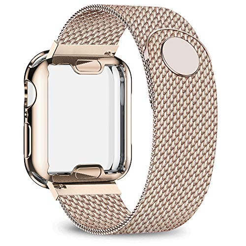 jwacct Stainless Steel Bands Compatible with Apple Watch Band 38mm - with Full Screen Protector for iWatch Series 3/2/1 - Adjustable Metal Magnetic Strap in 8 Classy Colors (Gold)