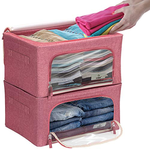 Sorbus Storage Bins Boxes, Foldable Stackable Container Organizer Basket Set with Large Clear Window & Carry Handles, for Bedding, Linen, Clothes (Pink)