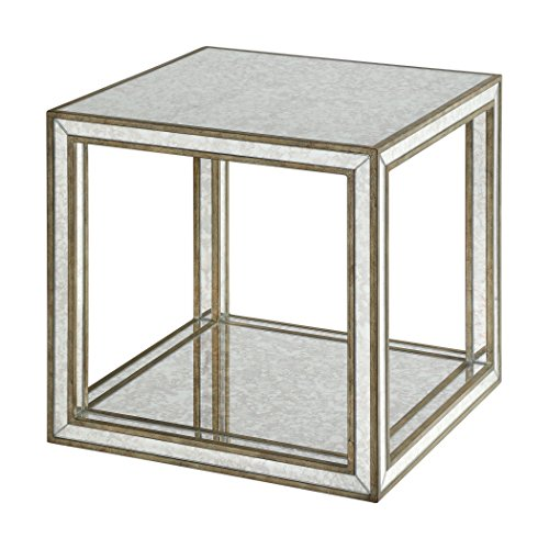 Dazzling Open Cube Mirrored Accent Table | Square Side End Furniture Retro Gold