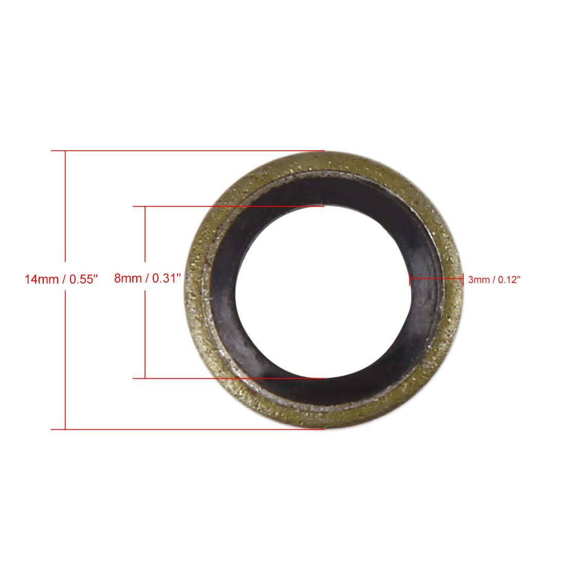 X AUTOHAUX 25pcs M26 Bronze Tone Car Engine Oil Drain Crush Flat Bonded Washer Gaskets