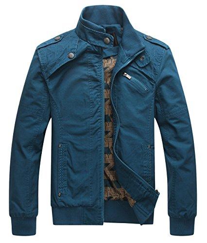 chouyatou Men's Casual Long Sleeve Full Zip Jacket with Shoulder Straps (Large, Blue)