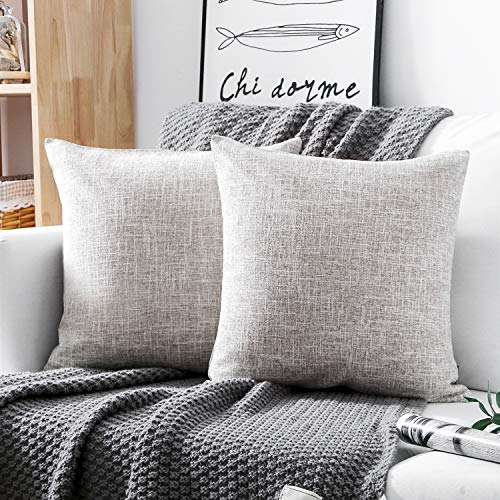 Phantosope Decorative Set of 2 Textural Faux Linen Series Throw Pillow Case Cushion Cover Light Grey 18 x 18 inches 45 x 45 cm