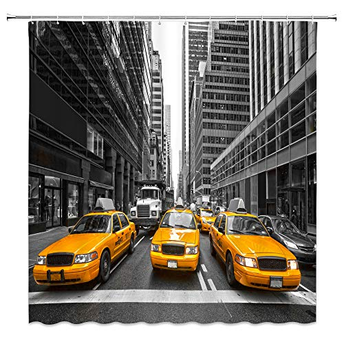 BCNEW Yellow Taxi Shower Curtain Decor New York City for sale  Delivered anywhere in USA