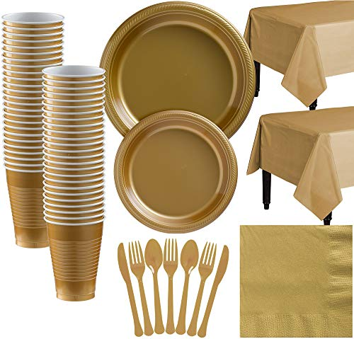 Amscan Gold Plastic Tableware Kit for 50 Guests, Party Supplies, Includes Table Covers, Plates, Cups and More ()