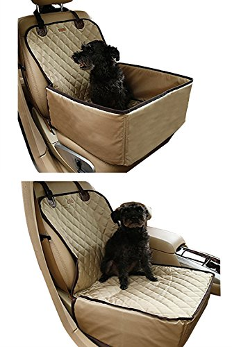 Cheap Creation Core 2 in 1 Deluxe Dog Front Seat Cover for Cars Waterproof Pet Bucket Seat Cover Protection Mat Thickened Booster Seat, Khaki