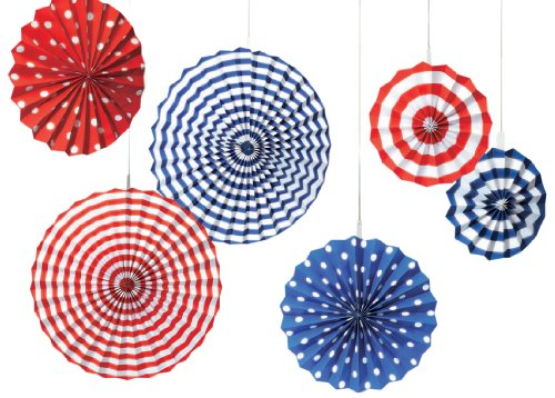 y Party Stars & Stripes Hanging Fan Decoration (6 Piece), Red/White/Blue, 13 x 11