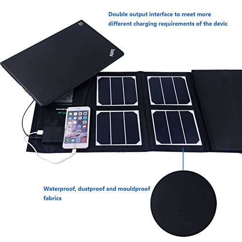 Solar Charger 40W Portable Solar Panel Foldable High Efficiency 5V USB 18V DC Dual Output Charger for Laptop Tablet GPS Cell Phone by KINGSOLAR™ (Image #1)