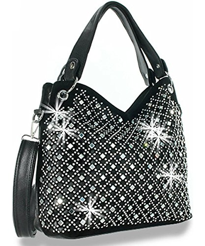 Zzfab Mirror Rhinestone Bling Purse Black ()