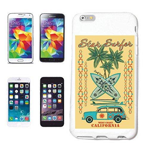 """cas de téléphone iPhone 7 """"STAR SURF BEACH SURFBOARDS WAVES LONGBOARD DE SURF Beginner Shop"""" Hard Case Cover Téléphone Covers Smart Cover pour Apple iPhone en blanc"""