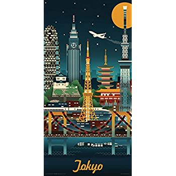 Culturenik Lantern Press Tokyo Japan Retro Skyline Illustrated Decorative Travel City Art Print (Unframed 12x24 Poster)