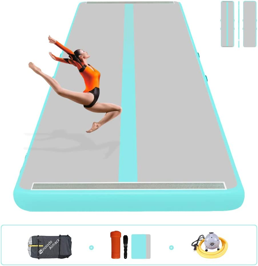 Sinolodo 10ft//13ft//16ft//20ft//23ft//26ft Inflatable Gymnastics Air Track Tumbling Mat 4//8 inches Thickness Airtrack Mats for Home Use//Training//Cheerleading//Yoga//Water with Pump