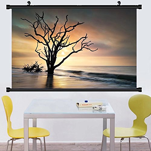 Gzhihine Wall Scroll Posterbone yard sunrise at botany bay beach on edisto island sc w dead live oak tree driftwood in ocean ,Wall Art Paiting on Canvas 20