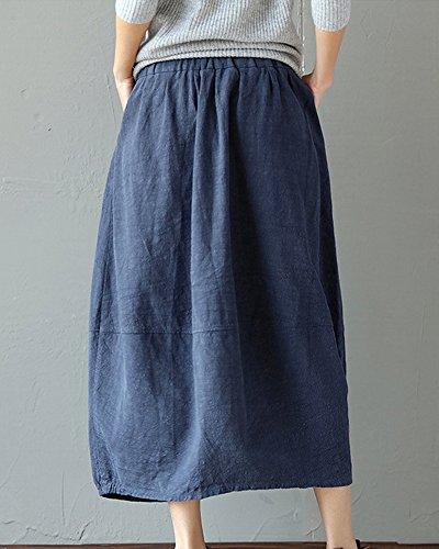 lastique Jupe Marine Couleur Taille Vintage Respirant Femme Maxi Unie Lanterne wAqSRgnxpt