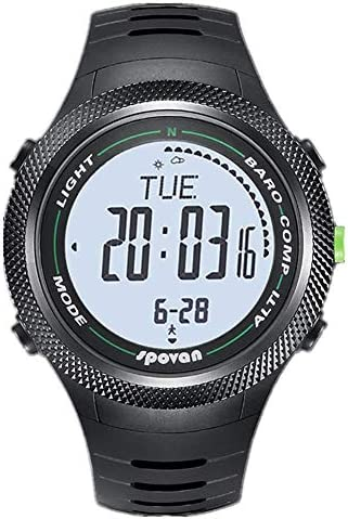 ATAとU- スプーン - 登山高度釣り圧力コンパス温度計ステップランニング屋外多機能腕時計男性超薄型 (色 : 白)