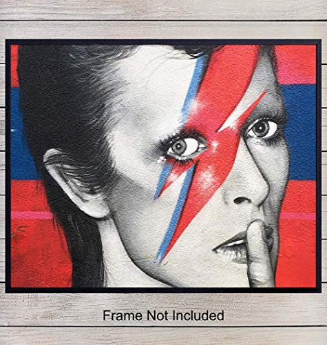 David Bowie Graffiti Street Mural Art Print, Wall Art Poster - Unique Home Decor for Bedroom, Den, Living Room - Gift for Ziggy Stardust, 80