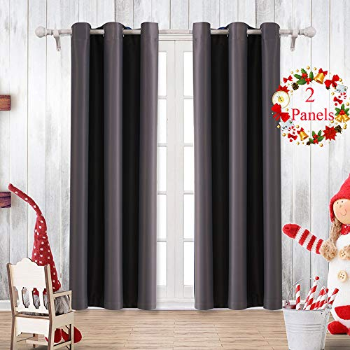 Saixi Thermal Room Blackout Curtains Bedroom Window Curtain for Living Room Darkening Grey Drapes(Dark Grey, 42x63inch) (Pannels Window)