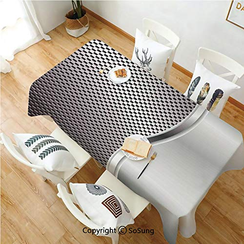 (Grey Rectangle Polyester Tablecloth,Cool Background with Square Shaped Grid Speaker Featured Industrial Iron Design Print,Dining Room Kitchen Rectangle Table Cover,54W X 108L inches,Silver)