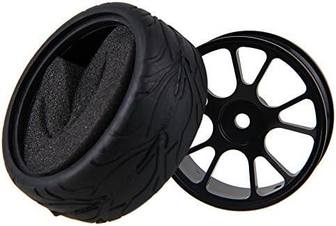 Mxfans RC 1:10 オンロードカー ブラックアルミ合金ホイールリム 10スポーク&ブラックフィッシュスケールパターン ゴムタイヤ 4個セット
