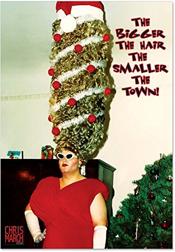 12 'Big Christmas Hair' Boxed Christmas Cards with Envelopes 4.63 x 6.75 inch, Humorous Christmas Costume Holiday Notes, Christmas Tree Hair Holiday Cards, Chris March Christmas Card -