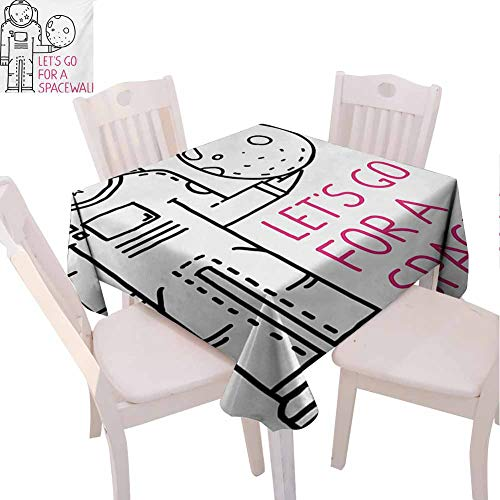 VICWOWONE Indoor Square Tablecloth Outer Space Will not Fade Space Walk Quote with a Man Romance Love in Stars Minimalist Design Image (Square,W70 x L70) Black and Pink
