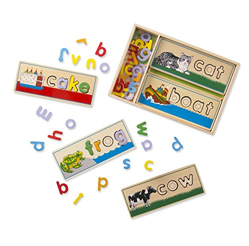 Melissa & Doug See & Spell Wooden Educational Toy With 8 Double-Sided Spelling Boards and 50+ Letters - Reading First Classroom Kit