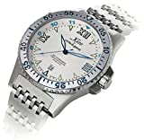 Xezo Men's Air Commando Japanese-Automatic Dive Luxury Watch D45-SS. 2nd Time Zone