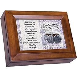 My Daughter Dark Wood Finish Jewelry Music Box - Plays Tune You Are My Sunshine
